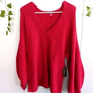 NWT Vince Camuto Pink V Neck Sweater Small